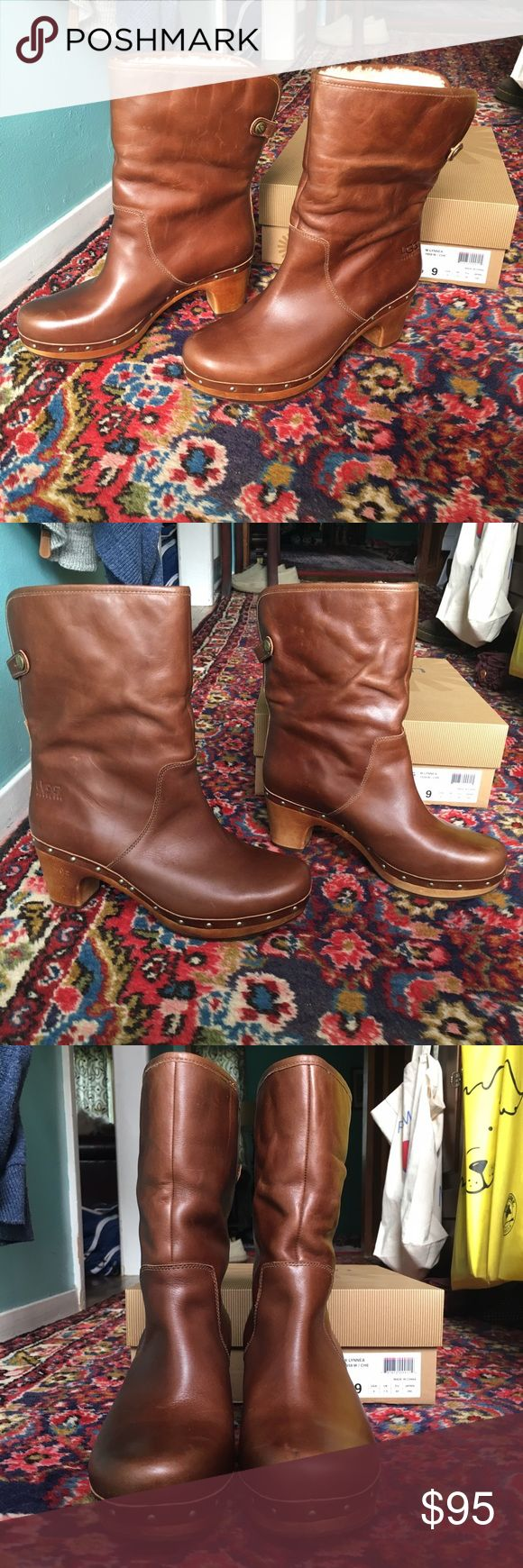 UGG Lynnea Brown Leather Clog Boots 9 Here we have a pair of brown leather Ugg Lynnea clog boots in a size 9. They were worn once or twice, and then stored away in a closet in their original box. They can be worn with the shaft up or folded down to reveal the cozy sheepy lining for a different look. Check out all of my pictures, ask any questions you may have, and make me an offer! 👍🏻 UGG Shoes Heeled Boots