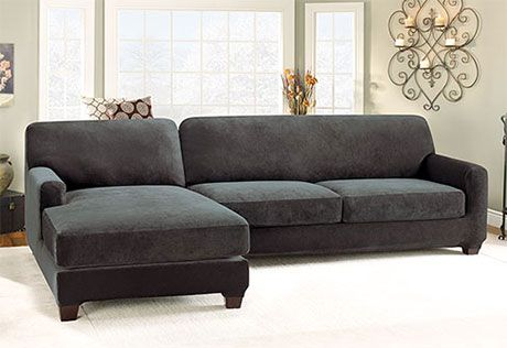 Sure Fit Slipcovers Stretch Pique Two Seat with Chaise Sectional Covers - Two Piece with Left Side Chaise Sectional