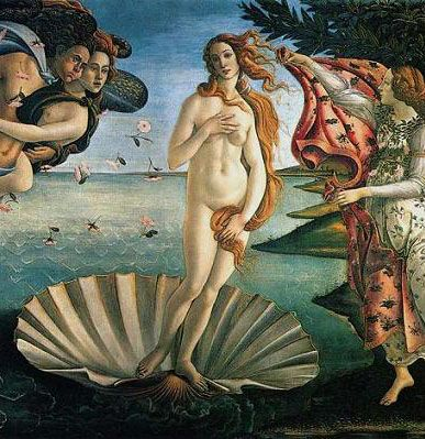 Botticelli The Birth of Venus in the  Uffizi Gallery in Florence. Truly beautiful.. Most of the time you only see a part of the painting..