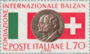 Portraits of Eugenio Balzan,Angela Lina, and flags of Italy