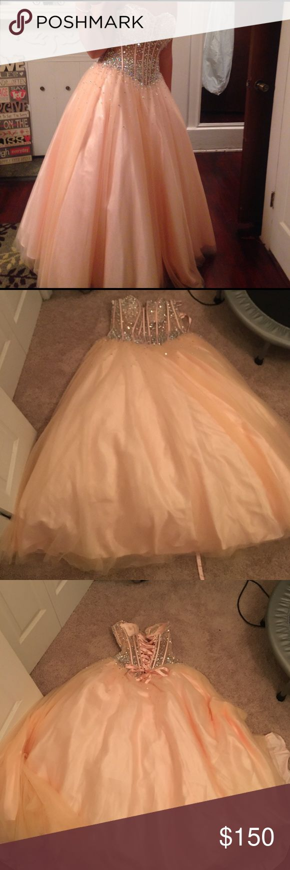 Prom dress It is only worn once prom dress got it at group USA it is a size 12 the top is shear and is laced in the back Dresses Prom