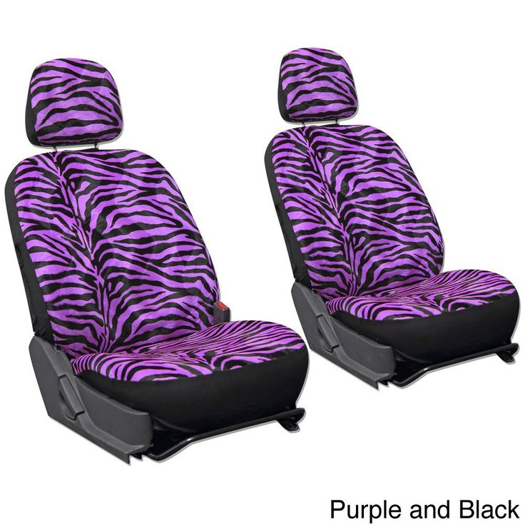 Oxgord Velour Zebra Tiger 6 Piece Seat Cover Set For Low Back Bucket Front