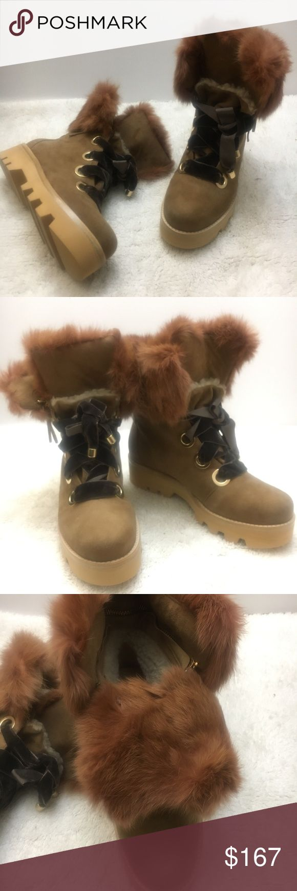 """Rachel Zoe Vayl Sherling Boot Sepia color Lace up shelving style boot.  Suede boot with  rabbit fur upper- removable by zipper.  Velvet wide shoe laces give this boot edge! Cork style platform sole.  Brand New in Box  Size 9 Bottom sole height- 1 3/4"""" Rachel Zoe Shoes Lace Up Boots"""