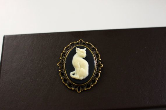 Cat Kitty Pet Brooch White and Black Cat Grandma by AnnabelandLee, $10.00 #catjewelry