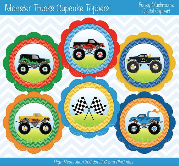 Digital Clipart - Monster Trucks Cupcake Toppers printable for Scrapbooking, Paper crafts, Cards Making, Invitations INSTANT DOWNLOAD
