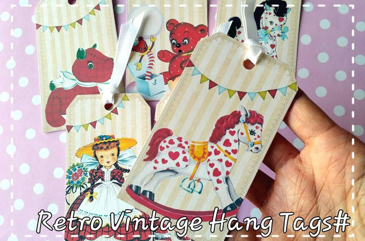 6xRetro baby Thank You Hang Tags,Wedding Favor Gift Paper Tags,Card making