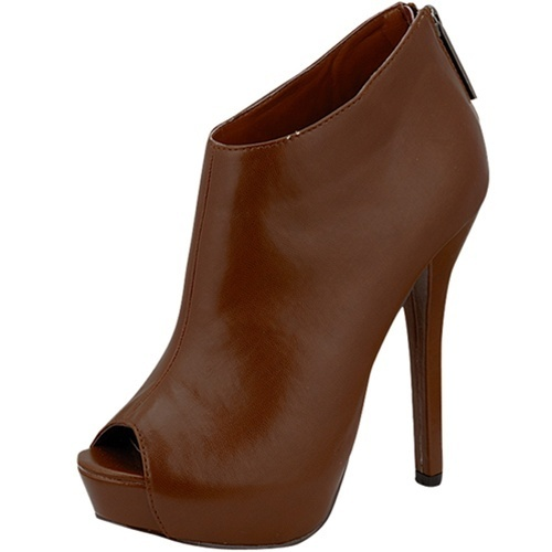 Tan Rina-11 Sexy Platform pu Leather Ankle High Heel Boot Peep Toe Bootie Shoe