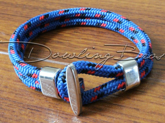 Silver Hook Blue Rope Designer Bracelet by DowlingBrothers on Etsy, $17.95