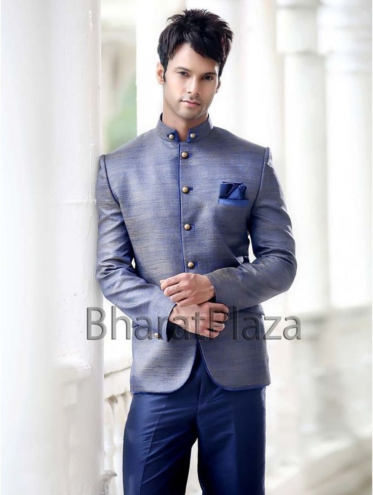5 button Reception Jute Fabric High Neck Collar Stylish Suit #BharatPlaza #DesignerMenSuit