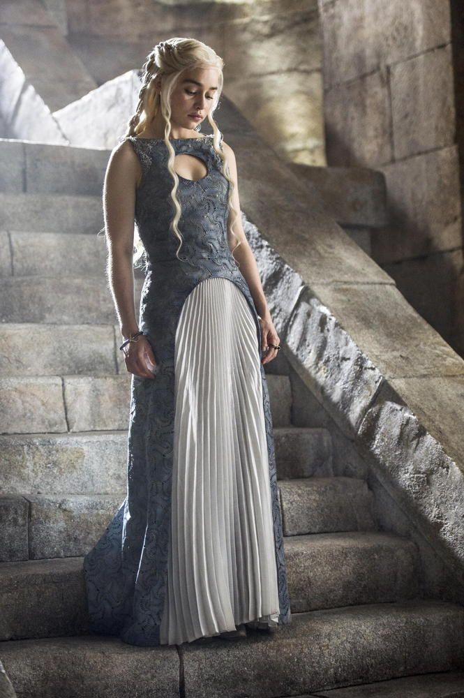 I really like the photo of Danny, one of the characters in Game of Thrones. The dress, the pose, the contrast of the steps.