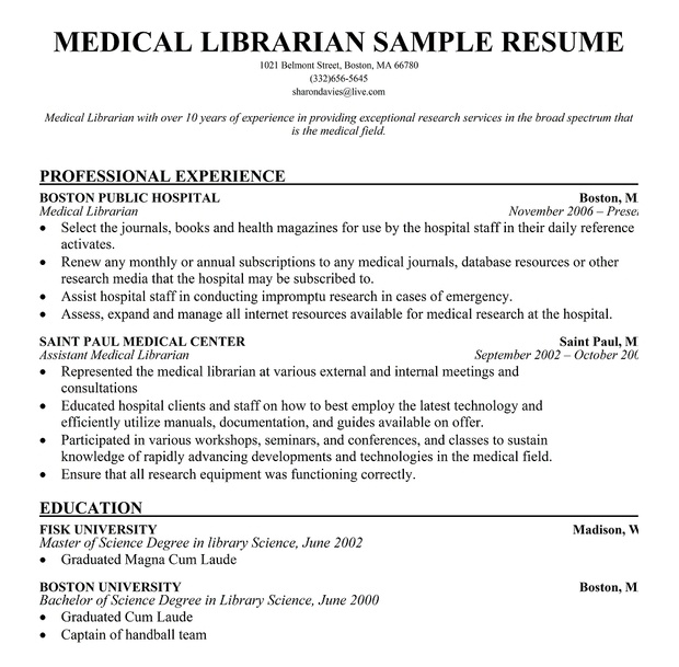 Medical #Librarian Resume Sample (Resumecompanion.Com) | Resume