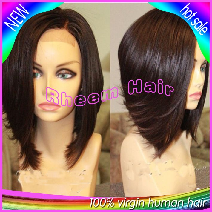 6A Best Quality Short Bob Lace Front Wigs Brazilian Virgin Straight Human Hair Bob Wig Glueless Full Lace Wigs Natural Hairline