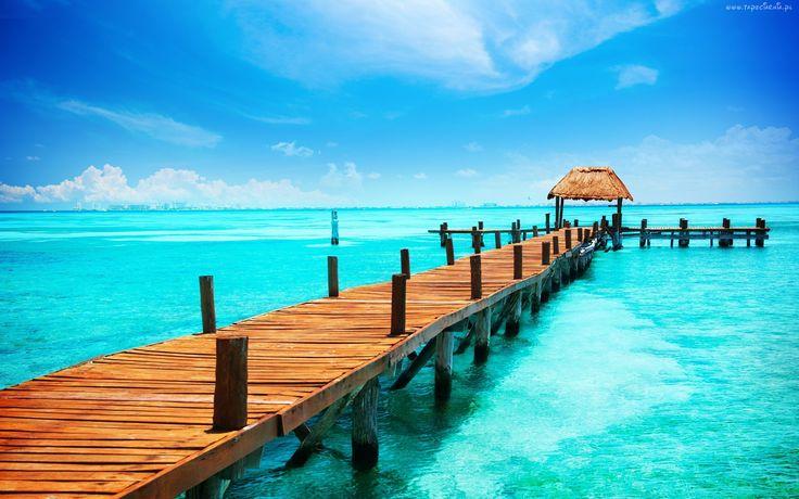 Molo, Błękitne, Niebo,  Morze