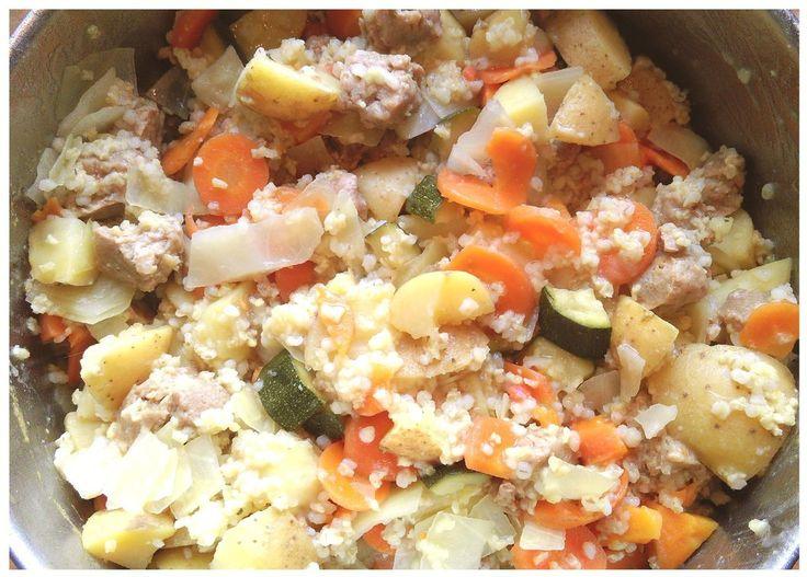 Kartoffel-Gemüse-Hirse-Gräupchen-Sojastückchen-Menu