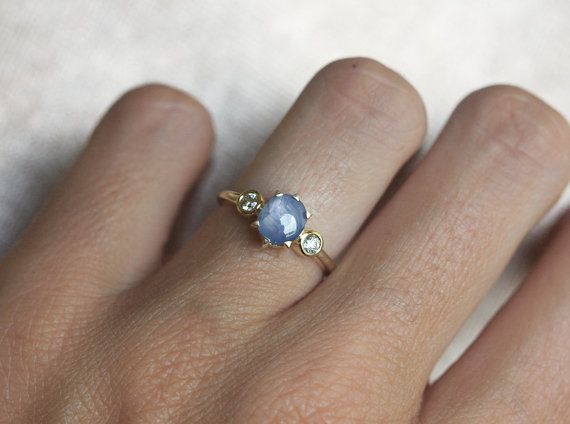 Star Sapphire Enagement Ring Thee Stone Ring Three by capucinne