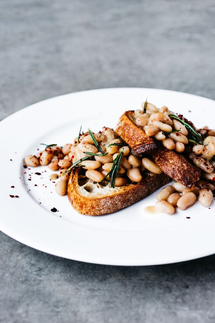 Really nice idea - miso rosemary beans on toast #vegan