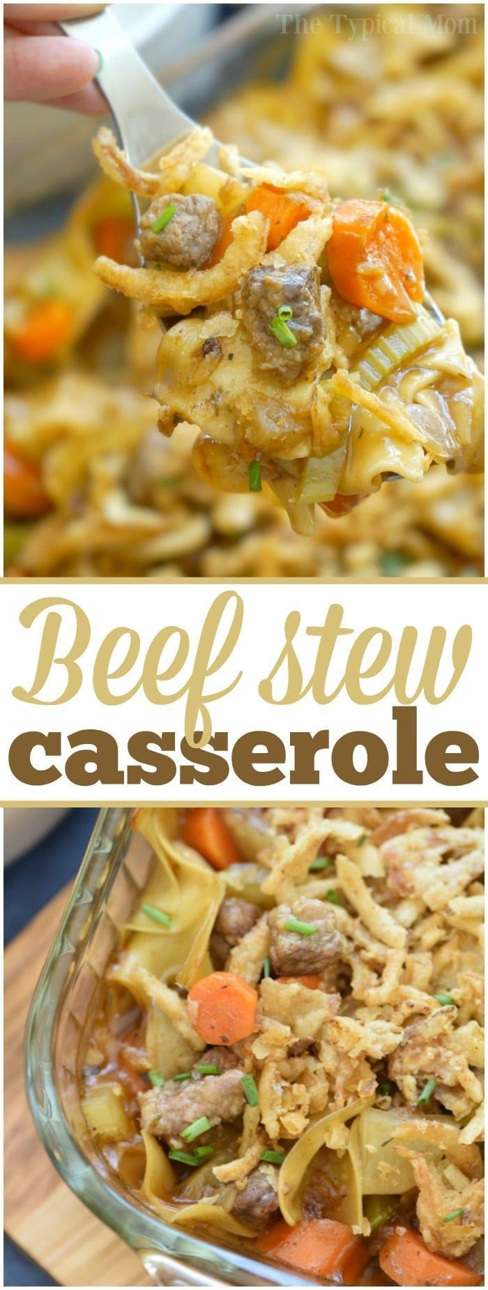 This easy beef stew casserole is comfort food at it's finest!! Packed with tender meat lots of vegetables and a thick sauce you're sure to have seconds! via @thetypicalmom