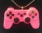 Hot Pink Gamer Girl Resin Video Game Controller Necklace