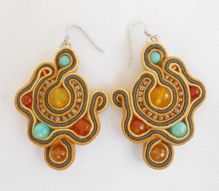 Soutache earrings with yellow jade