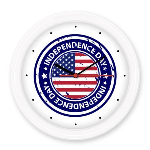 USA America Independence Day Flag Circle Postmark Illustration Pattern Silent Non-ticking Round Wall Decorative Clock Home Decal #USA #America #Independence #Flag #Circle #Postmark
