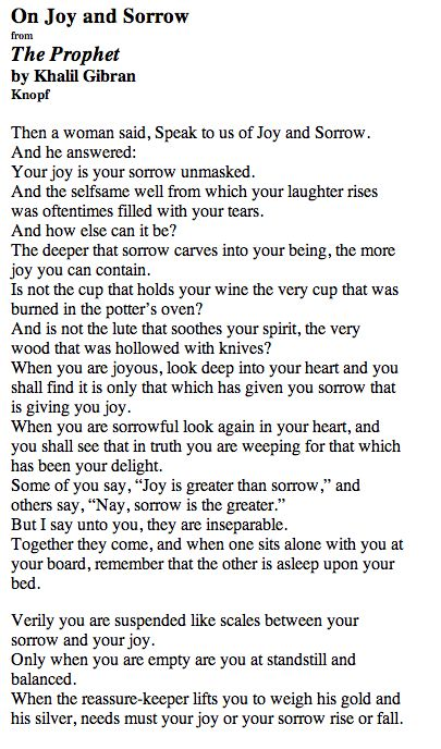 joys and sorrows of life poetry Emily dickinson, amherst,  poet marie howe describes emily dickinson's poetry as a passport into another's  and confessing her personal joys and sorrows.