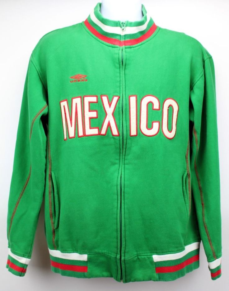 UMBRO Mens MEXICO Spell Out Soccer Jacket Green Red White Full Zip Sz Medium #Mexico #soccer