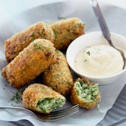 Cauliflower and parsley croquettes with roasted garlic aioli.