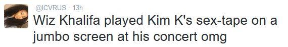 Wiz Khalifa played Kim K's sex tape at his concert? - http://www.thelivefeeds.com/wiz-khalifa-played-kim-ks-sex-tape-at-his-concert/