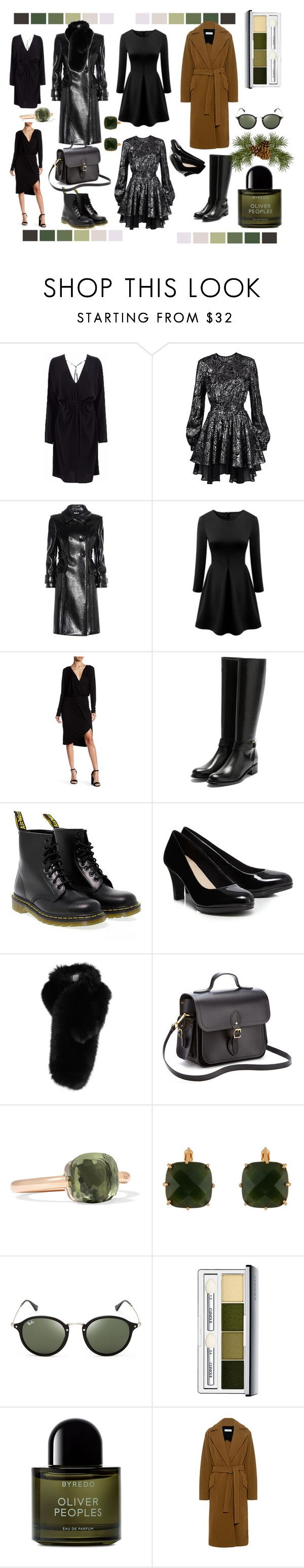 """""""midi black dress mood"""" by jioulianova ❤ liked on Polyvore featuring Just Cavalli, Miu Miu, WithChic, Young, Fabulous & Broke, Rupert Sanderson, Dr. Martens, Lilly e Violetta, The Cambridge Satchel Company, Pomellato and Les Néréides"""
