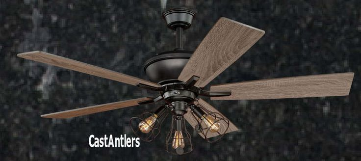 "Standard Size Fans | 52"" Edison Rustic Ceiling Fan w/ Industrial Cage Light 