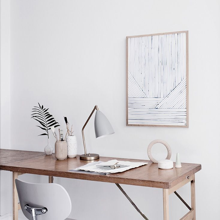 Silke Bonde for The Poster Club - Hege in France nordic workspace white grey and wood poster