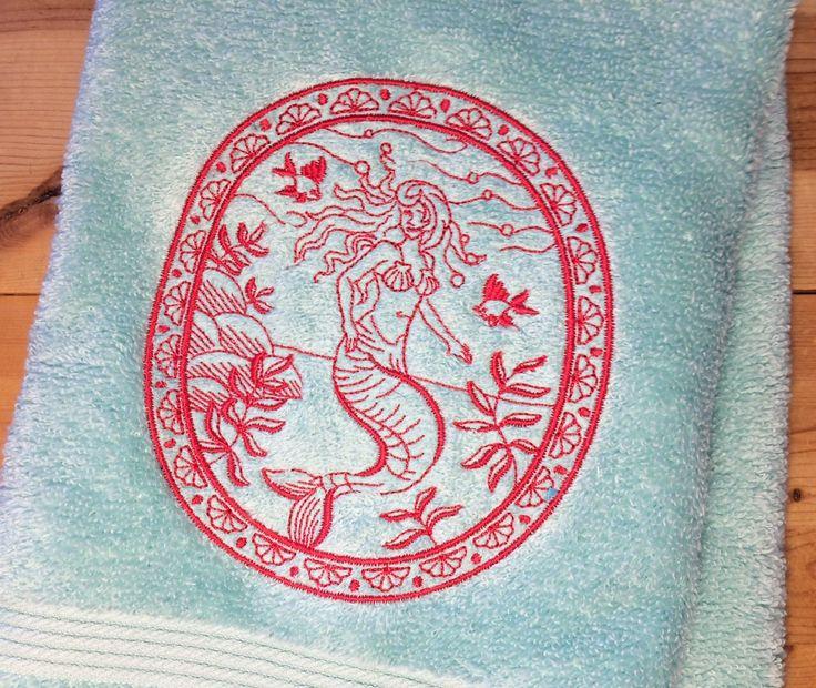 Angel of the Sea Mermaid Towel~ Embroidered Nautical Hand Towels~ Ocean Bathroom Decor ~ Mermaid Towels~ CHOOSE YOUR COLORS
