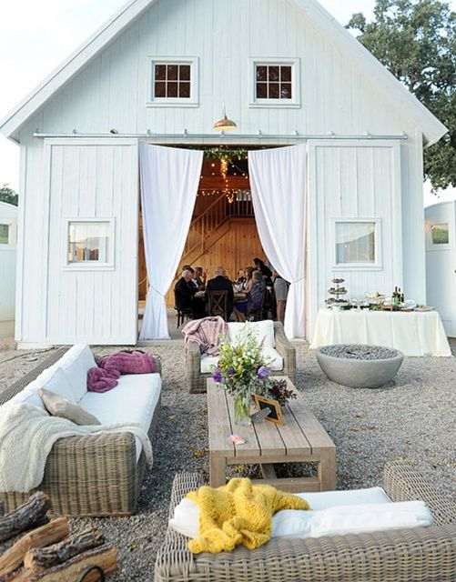 white barn, white doorsDreams, Outdoor Lounges, Barns Parts, Outdoor Living Spaces, White Barns, House, Outdoor Spaces, Barns Wedding, Lounges Area