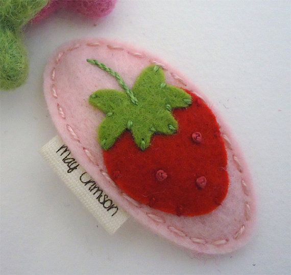 NO SLIP Wool felt hair clip Organic strawberry pale by MayCrimson, $7.00