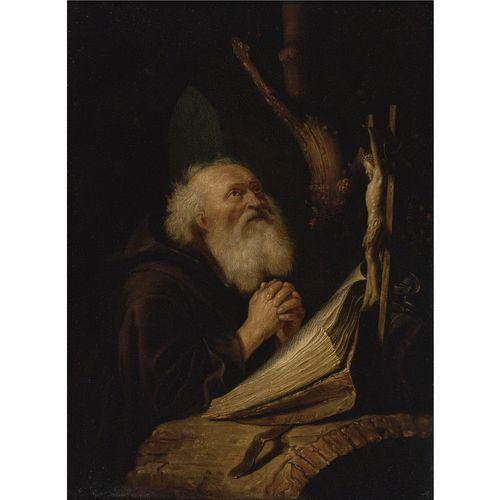 Navolger van Gerrit Dou: Sint Jerome in gebed. 2e helft 17e eeuw. Christie's, South Kensington. Voorheen toegeschreven aan Gerard Dou