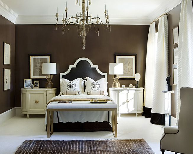 chocolate walls black and white headboard this room looks so polished - Brown And White Bedroom Ideas