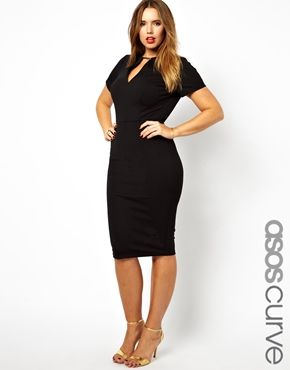 ASOS CURVE Exclusive Workwear Dress With Metal Bar. Plus Size Fashion.  What a classy and sexy dress.