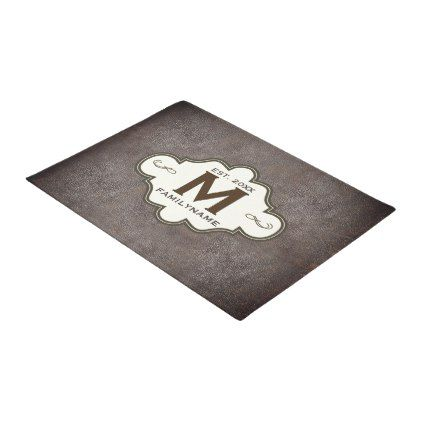 Rustic Country Western Leather Look Monogrammed Doormat - initial gift idea style unique special diy