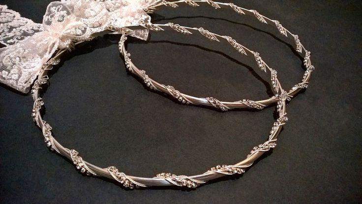 Stefana.Wedding Crowns.Greek Wedding. Orthodox Crowns.Silver Plated Wedding headband.Stephana.Bridal Crowns.Silver plated crowns.AURA. by RaniaCreations on Etsy