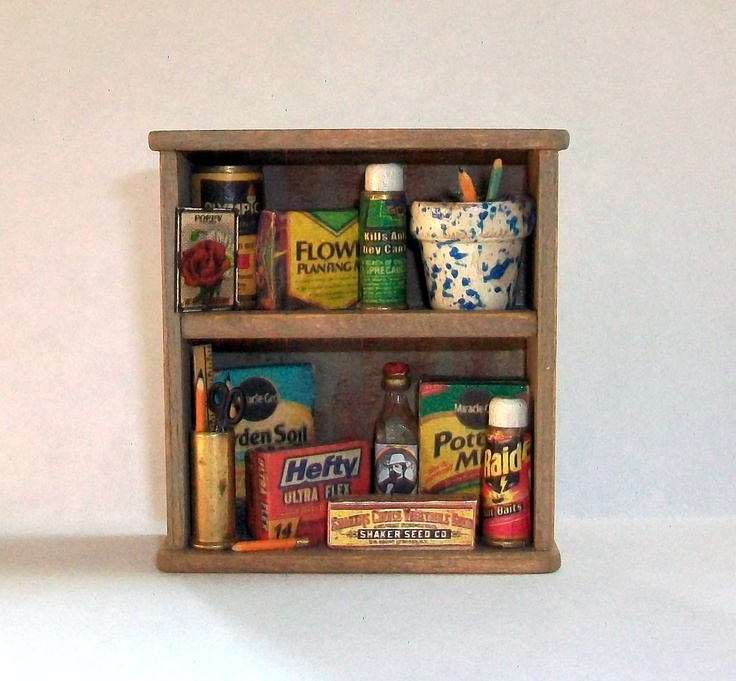 Miniature Garden Shed Shelf (1 Inch Dollhouse Scale)
