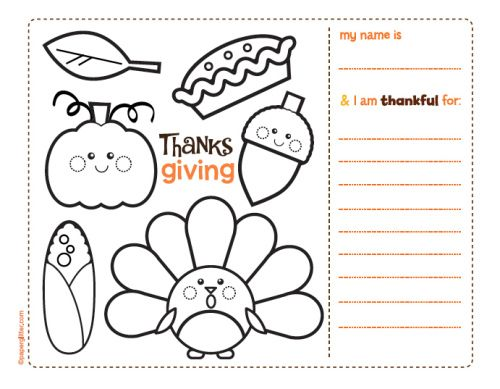 Thanksgiving Coloring Placemats Printables Thestout
