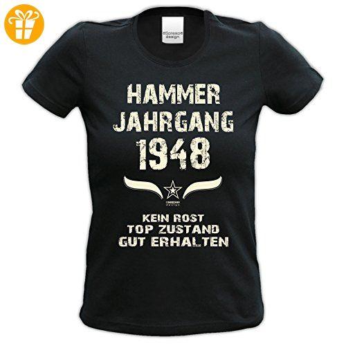 Damen Motiv T-Shirt :-: Geburtstagsgeschenk Geschenkidee für Frauen zum 69. Geburtstag :-: Hammer Jahrgang 1948 :-: Girlie kurzarm Shirt mit Geburtstags-Aufdruck :-: Farbe: schwarz Gr: L (*Partner-Link)