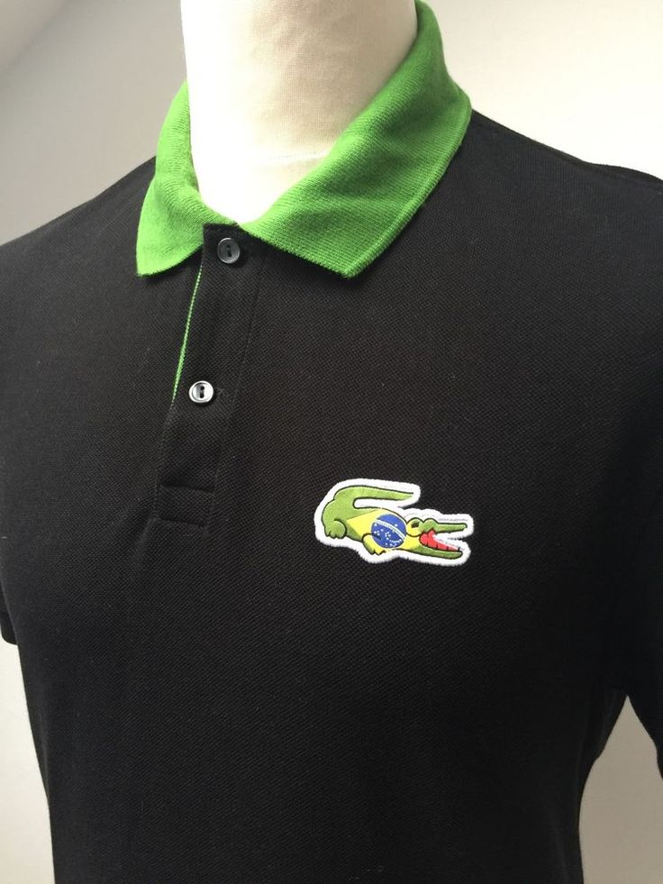 LACOSTE Polo Shirt BRAZIL Size 5 LARGE BLACK  | eBay