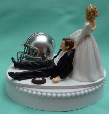 Wedding Cake Topper - Ohio State St. University Buckeyes Football Themed OSU- Hilarious!
