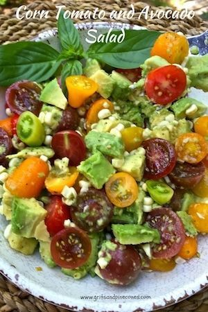 This delicious and healthy Corn, Tomato, and Avocado Salad is the very essence of summer eating. It's simple, light, cool, and refreshing!   via @gritspinecones