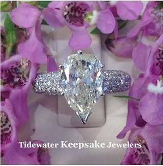Pear shaped diamond engagement ring.