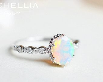 Vintage Pear Opal Engagement Ring 14K 18K by MichelliaDesigns