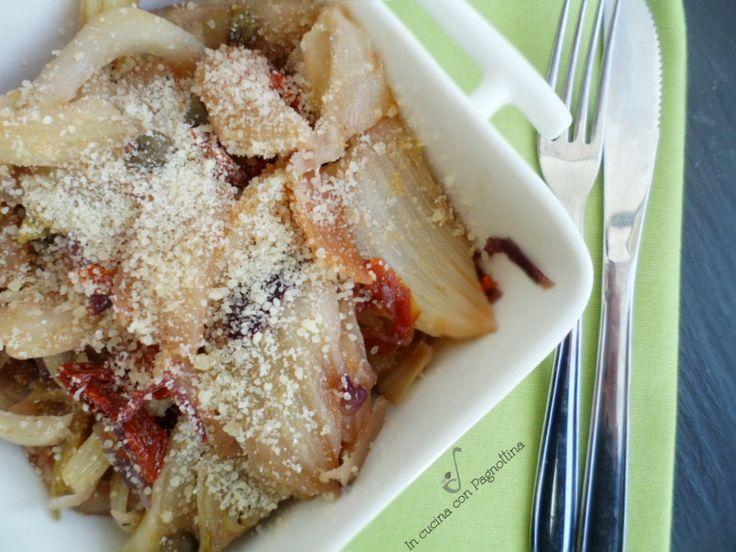 Finocchi stufati in padella, ricetta semplice, veloce e gustosa.