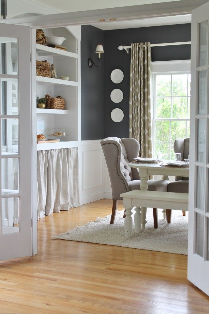 Summer Tour & Dining Room Reveal-Built ins - love...Wall Color BM Stormy sky
