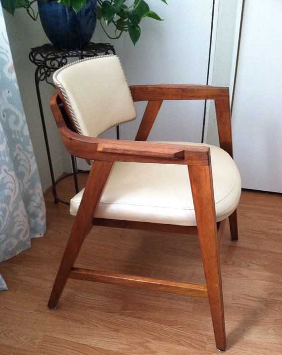 Gunlocke   Cream Accent Chair With Mahogany Stained Wood